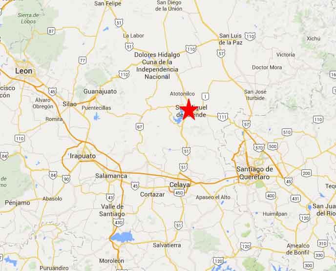 San Miguel de Allende map 2 - On The Road In Mexico on tulancingo mexico map, coba mexico map, mazamitla mexico map, ixtapan de la sal mexico map, torreón mexico map, chilapa mexico map, guanajuato mexico map, tequesquitengo mexico map, san miguel cozumel mexico map, punta chivato mexico map, plaza garibaldi mexico map, colima volcano mexico map, anenecuilco mexico map, valle de bravo mexico map, ayotzinapa mexico map, allende coahuila mexico map, tenayuca mexico map, excellence resorts mexico map, lake cuitzeo mexico map, lagos de moreno mexico map,